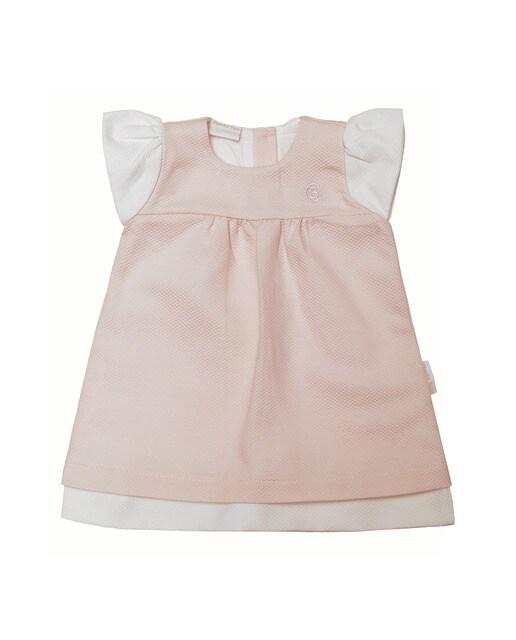 Faldón de bebé ni?a Chocolat Baby rosa sin mangas