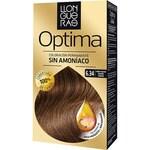 LLONGUERAS tinte Optima rubio oscuro dorado cobrizo nº 6.34 coloración permanente caja 1 unidad con aceites de rosa mosqueta y macadamia