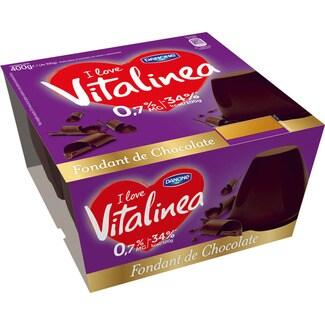 DANONE VITALINEA fondant de chocolate 0,9 % materia grasa pack 4 unidades 100 g