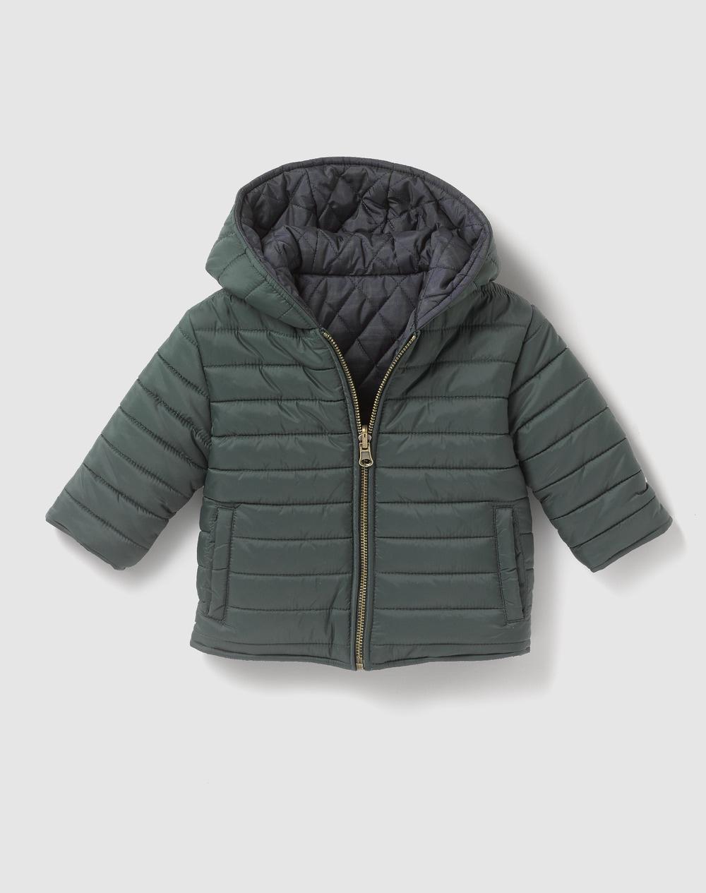 Manteau-reversible-bebe-garcon-Tizzas-matelasse-vert