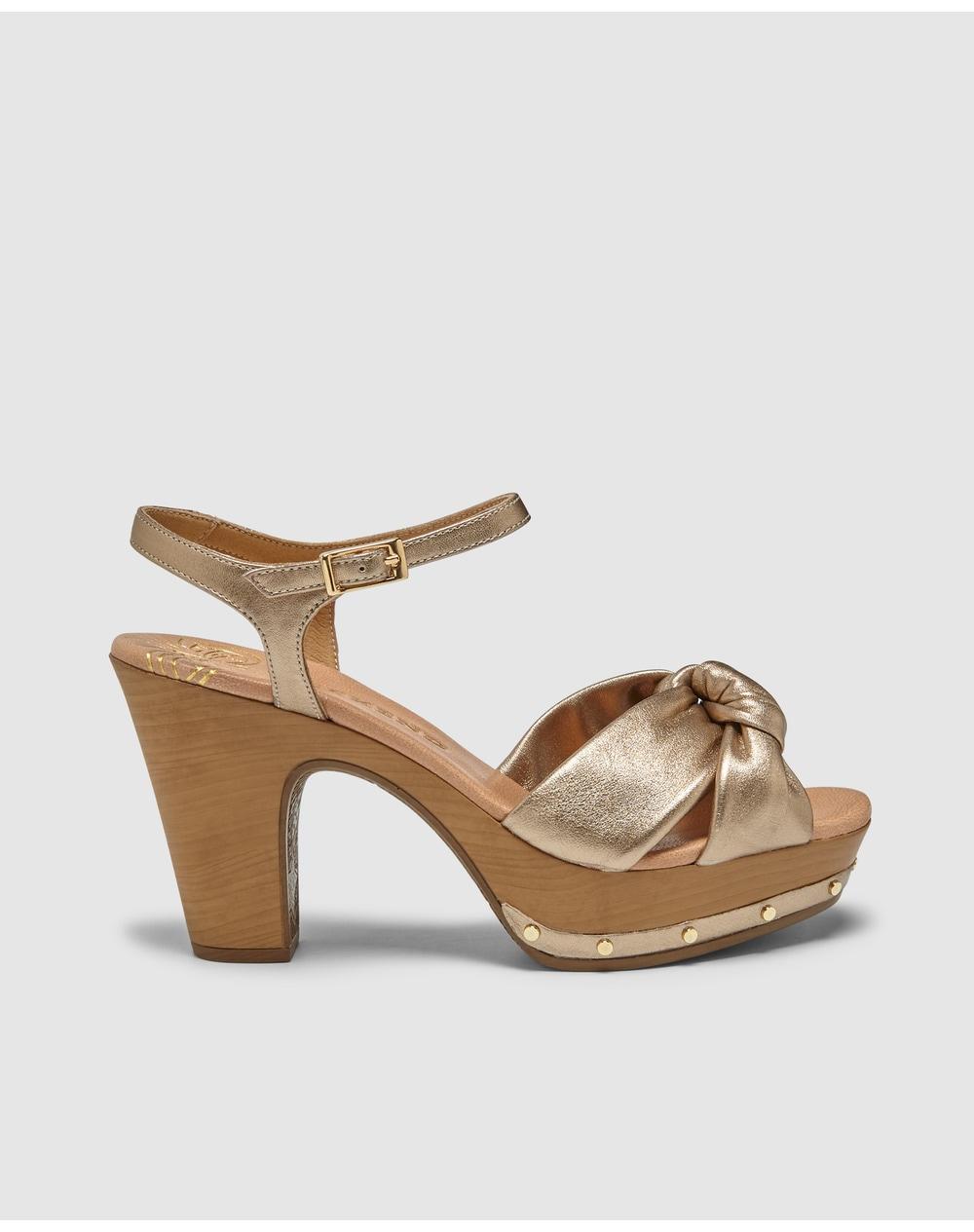 Sandales à talon femme Weekend en cuir doré métallisé