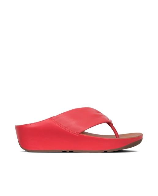 FitFlop Sandalias de cuña de mujer Fitflop de piel color rojo Rojo