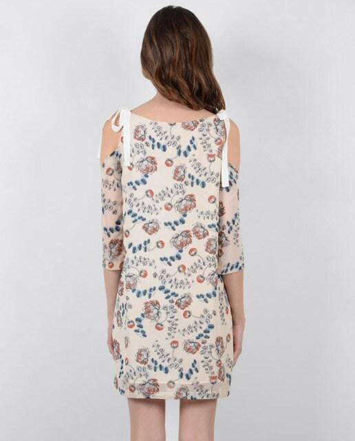 Molly Bracken Vestido de mujer Molly Bracken fluido de hombros desnudos con estampado floral