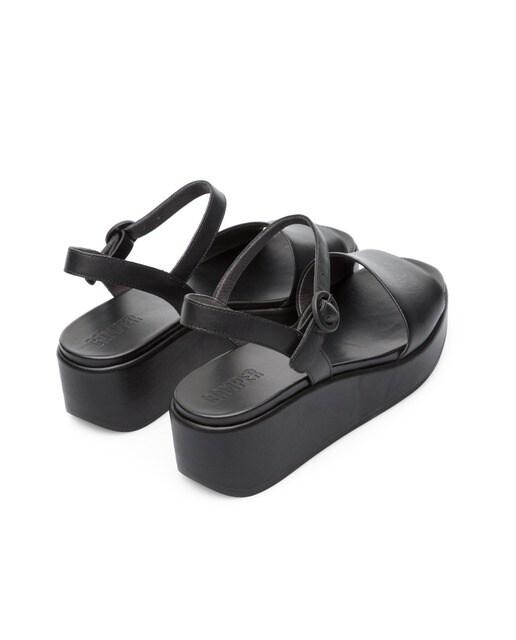 Camper Sandalias de cuña de mujer Camper misia en negro