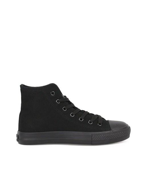 CHIKA10 Zapatillas de lona de mujer Chika10 lisas abotinadas en color negro Negro