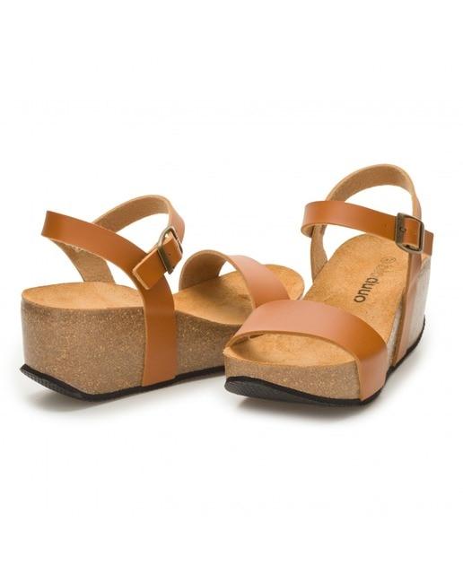 DUUO Sandalias de cuña de mujer Duuo de similpiel color marrón