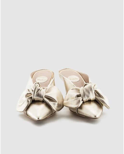 Ras Zapatos de salón de mujer Ras de piel metalizada en amarillo