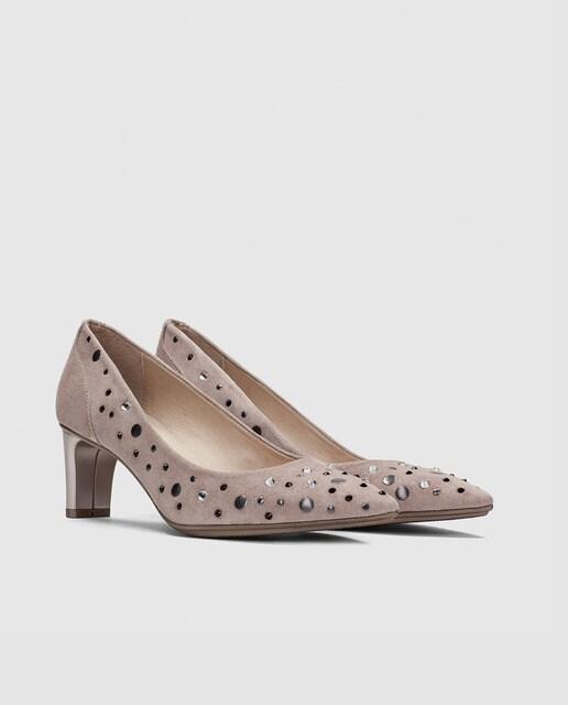 Hispanitas Zapatos de salón de mujer Hispanitas con tacón en ante gris
