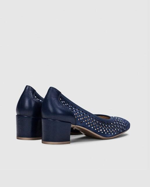 Hispanitas Zapatos de salón de mujer Hispanitas con tacón en color azul jeans