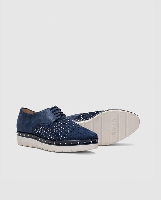 Hispanitas Zapatos de cordones de mujer Hispanitas en color azul jeans con brillantes