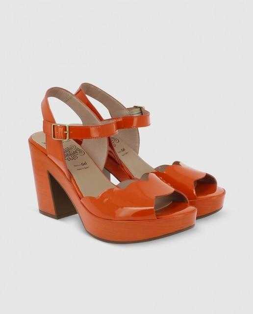 Wonders Sandalias de tacón de mujer Wonders de charol naranja