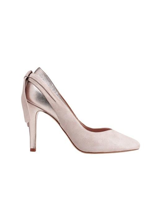 Zapatos de salón de mujer Miss García en color rosa con lazo decorativo