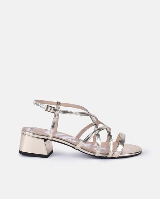 Cuplé Sandalias de tacón de mujer Cuplé de piel metalizadas Plata