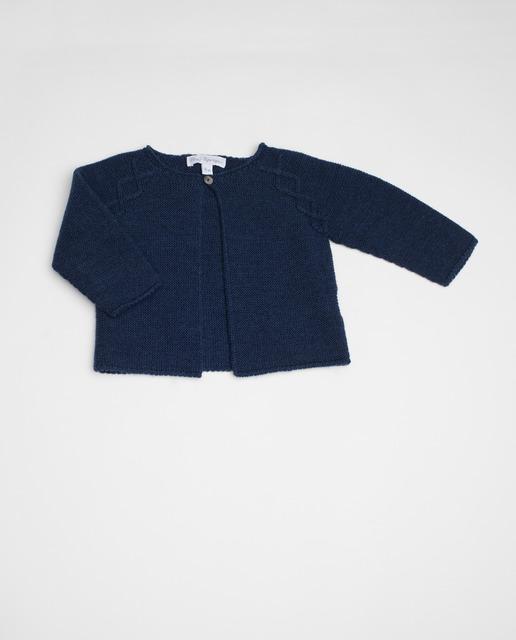 ventas calientes 182ae 5f170 Chaqueta de bebé niña Fina Ejerique azul marino de punto