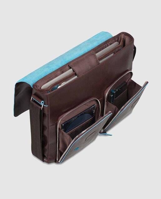 Piquadro Portadocumentos de piel marrón con portaordenador