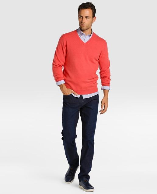 Emidio Tucci Jersey de hombre Emidio Tucci de cashmere rojo con el cuello de pico