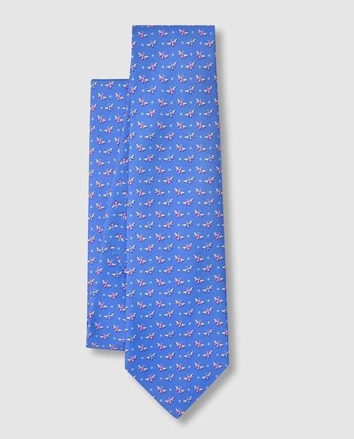 Olimpo Corbata de seda azul estampada