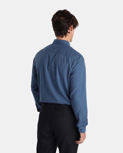 Tommy Hilfiger Camisa de hombre Tommy Hilfiger regular estampada azul