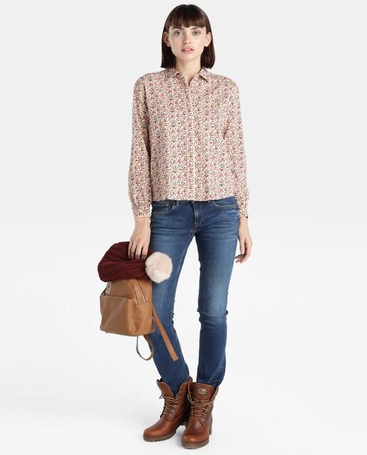 Pepe Jeans Camisa de mujer Pepe Jeans de flores con cierre oculto