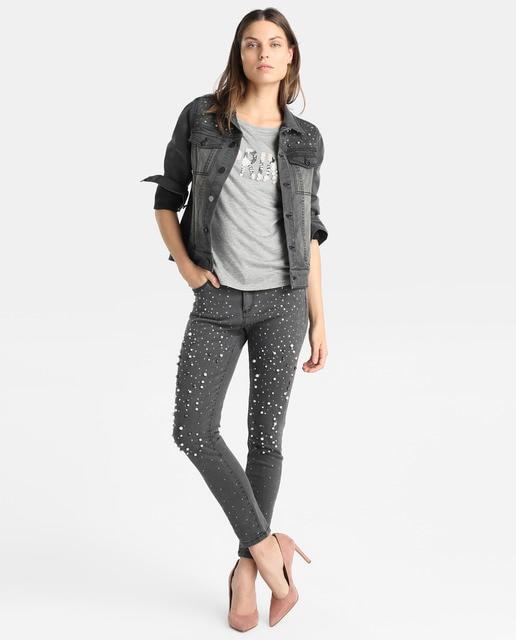 Elogy Camiseta gris de mujer Elogy con adorno delantero