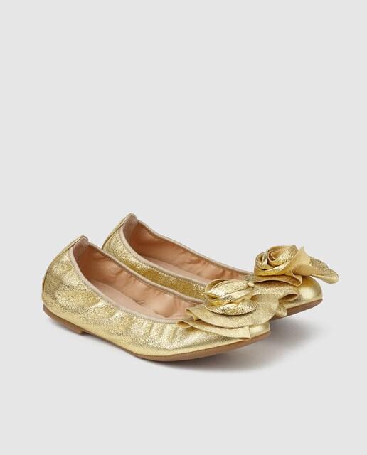 Unisa Bailarinas de mujer Unisa de piel metalizada en color oro