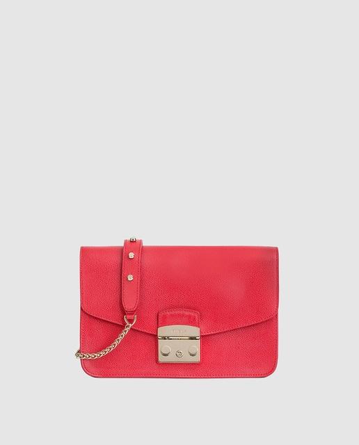 Rojo En Furla Moda Piel Hombro Solapa Bolso Metropolis · De Con dhBsQCotrx