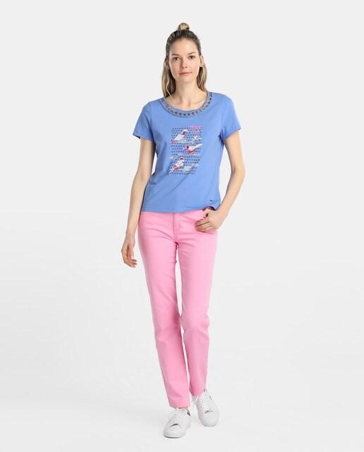 Lloyds Camiseta de mujer Lloyds con estampado de pájaros y escote con aberturas