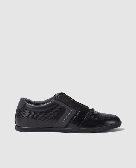 Zapatillas de piel de hombre Hugo Boss de color negro con logo lateral 465ffefeb562