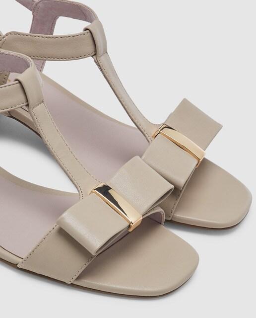 Antea Sandalias de tacón de mujer Antea en  piel de color beige