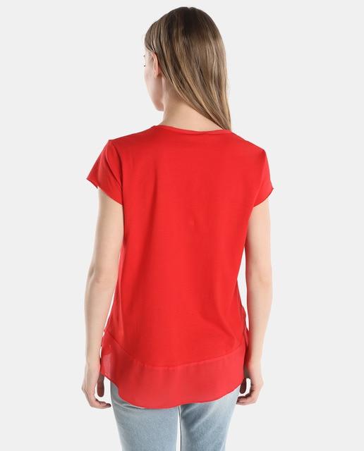 Easy Wear Camiseta de mujer Easy Wear roja con faldón