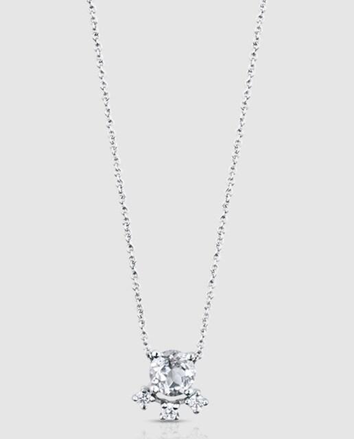 Tous Collar Eklat de oro blanco con diamantes y topacio Tous