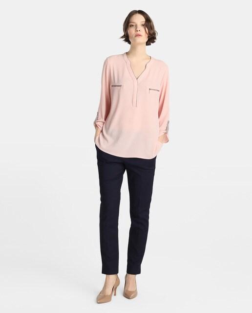 Tresor Blusa de mujer Tresor con manga francesa y escote en pico