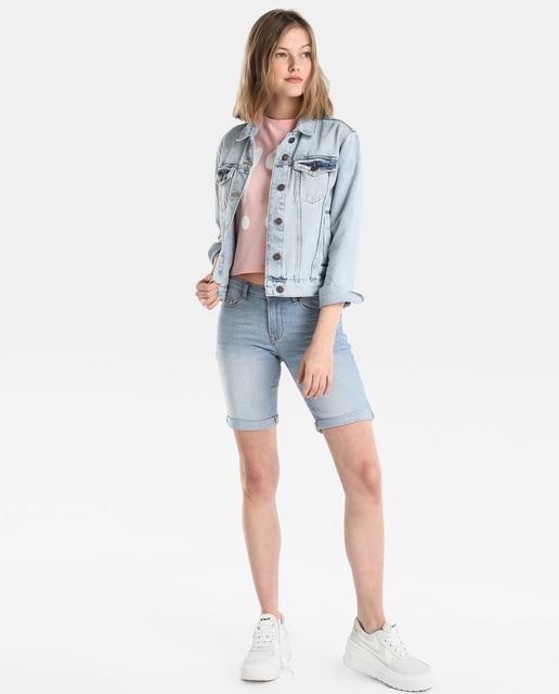 Easy Wear Camiseta crop de mujer Easy Wear con print delantero