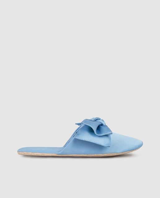 Kalk Zapatillas de casa de mujer Kalk de satén azul