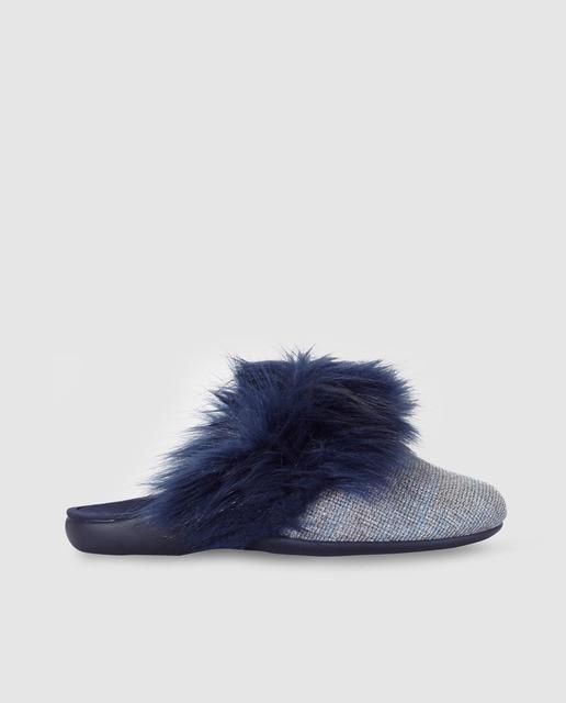 Antea Zapatillas de casa de mujer Antea de color azul con adorno de  pelo