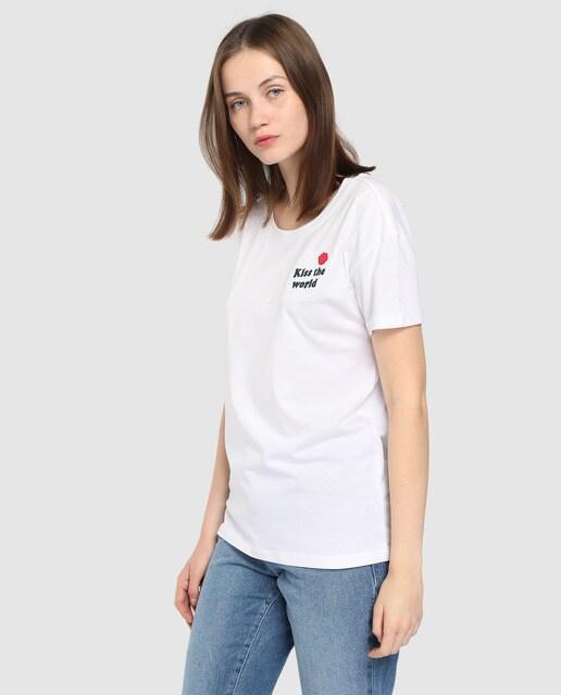 ab4ee1ccd4702 Camiseta de mujer Noisy May con print delantero y mang.