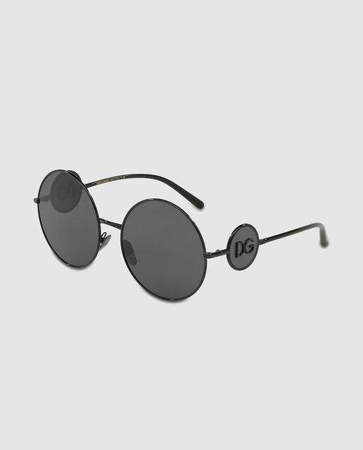 Óculos de sol de mulher Dolce   Gabbana redondos de metal pretos ... c56af24d3b