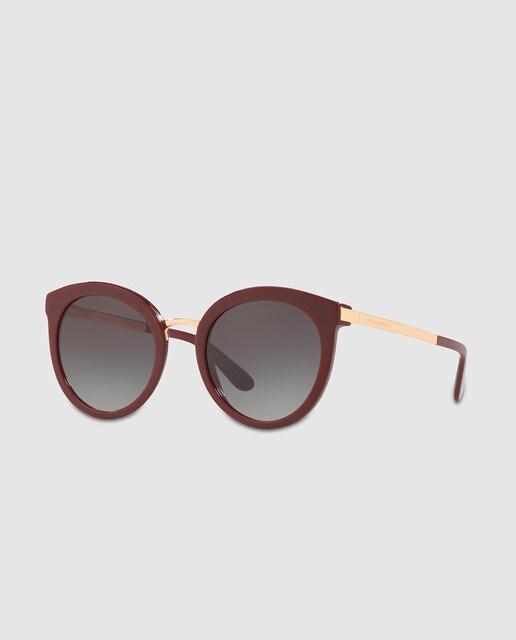 794c6dea1d Gafas de sol de mujer Dolce & Gabbana redondas con montura de acetado en  burdeos