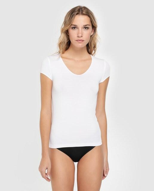 Camiseta interior de mujer Wolford con manga corta y e. e6a12379c24b