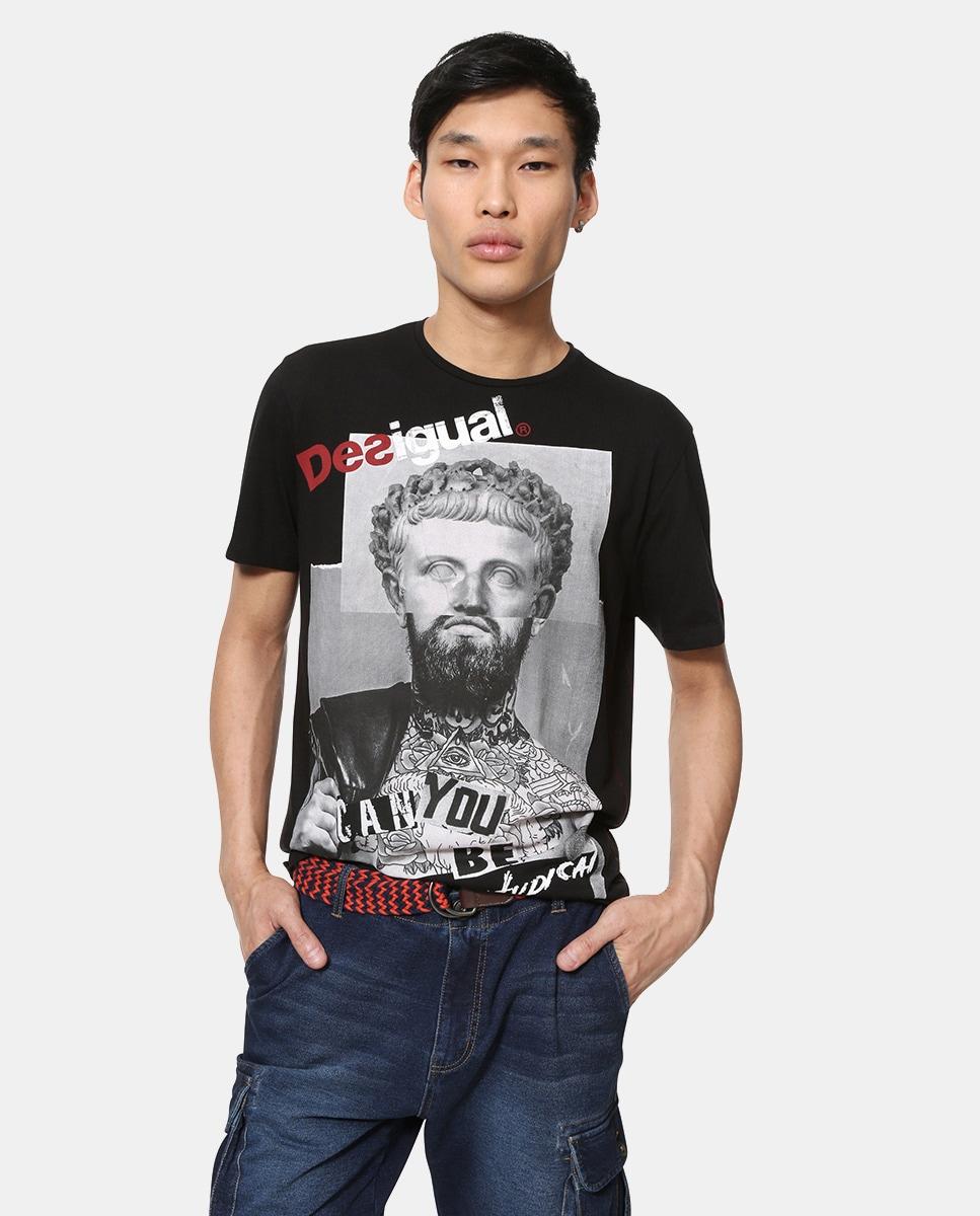 Camiseta Desigual Manga De Hombre Negra Corta yg6f7b