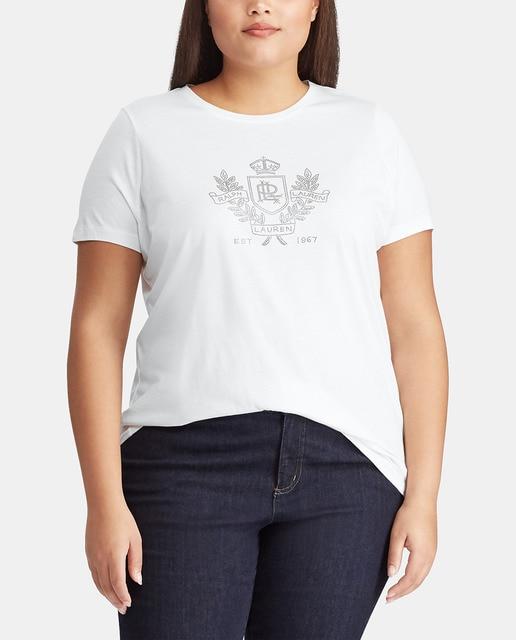 Camiseta de mujer talla grande con manga corta y cuell... Lauren Ralph  Lauren Woman 898928cbc7d4