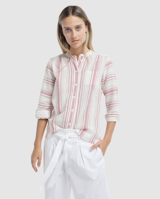 En Blusa Y Pecho Moda Con Antik · El De Rayas Bolsillo Mujer Batik 2WIHDE9Y