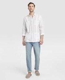 c210087b6 Camisa guayabera de lino de hombre Emidio Tucci classic lisa blanca ...