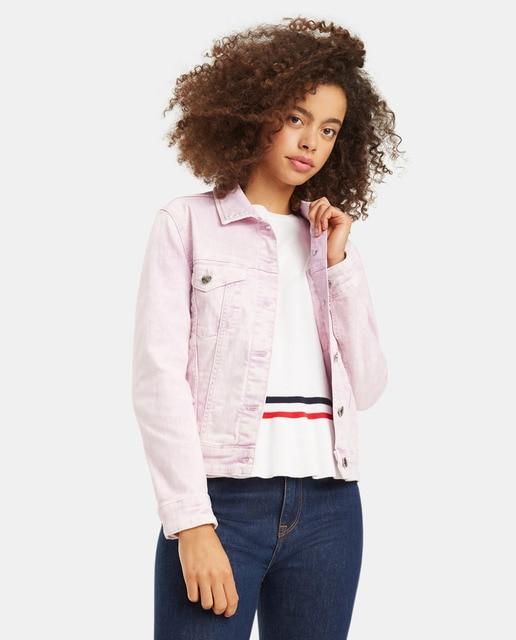 estilo actualizado ofrecer descuentos original mejor calificado Cazadora vaquera de mujer en color rosa · Tommy Hilfiger ...