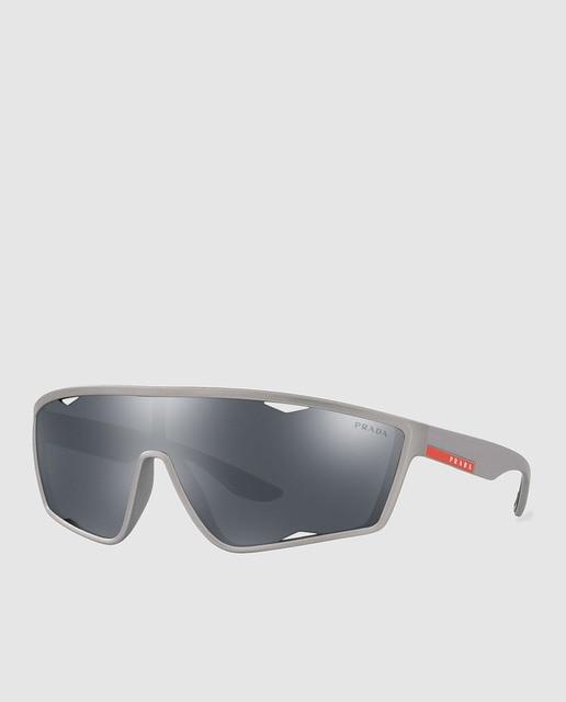 5573cc0029 Gafas de sol de hombre Prada Línea Rossa tipo deportivo de lente única  color gris