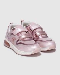 Sapatilhas com luzes de menina Geox rosa com velcro duplo