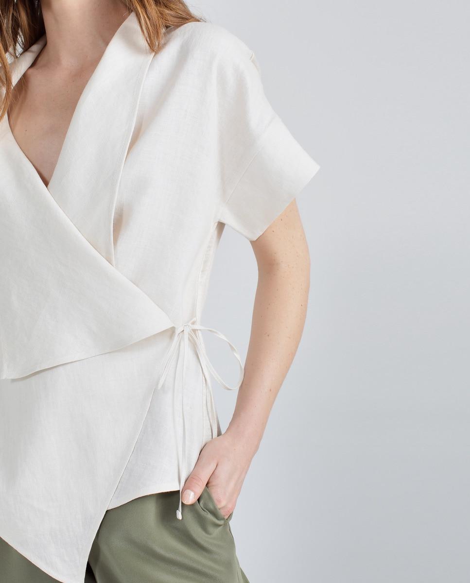 Corte 100Lino Woman Limited Con Camiseta De Mujer Cinturón Inglés El vN8nwOm0y