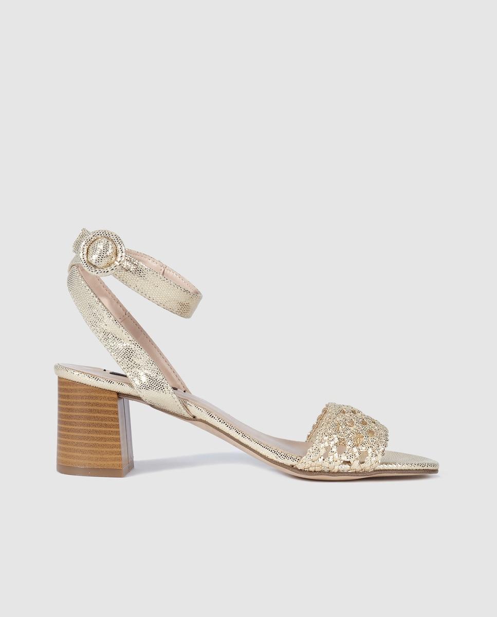 Image of Zendra Basic women's golden high-heel sandals with plaited racket detail, Gold.